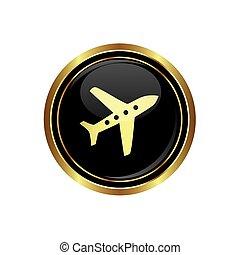 rotondo, aeroplano, dorato, bottone