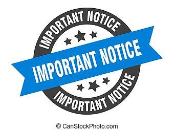 rotondo, avviso, nastro, importante, blue-black, adesivo, segno.