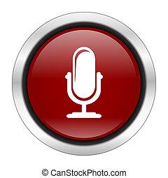 rotondo, disegno, fondo, bottone, isolato, icona, bianco, microfono, web, illustrazione, rosso