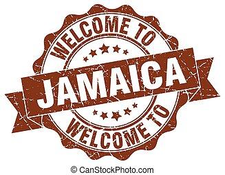 rotondo, giamaica, nastro, sigillo