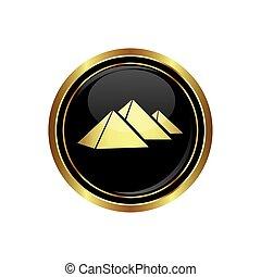rotondo, piramidi, dorato, bottone