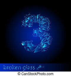 rotto, cifra, -, tre, vetro