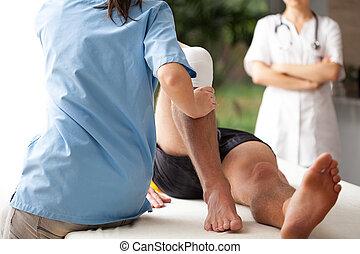 rotto, riabilitazione, gamba