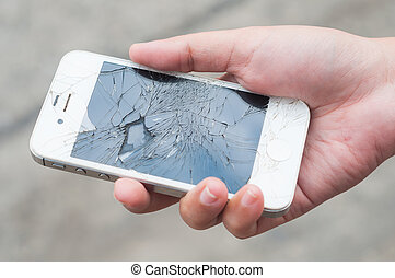 rotto, smartphone, tenere mani
