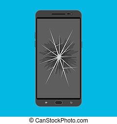 rotto, touchscreen, smartphone, schermo