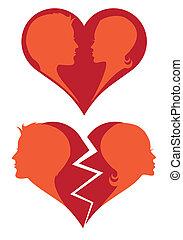 rotto, vettore, amare cuore