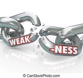 rottura, catena, debole, debolezza, collegamenti, parola