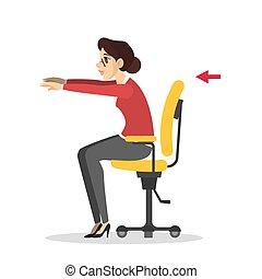 rottura, esercizio, ufficio., allenamento, donna, durante