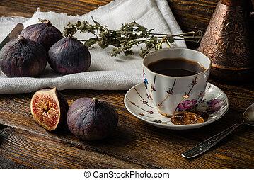 rottura, figs., caffè, succoso, maturo