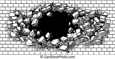 rottura, parete, mattone, buco, attraverso