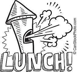 rottura, pranzo, schizzo, fischio