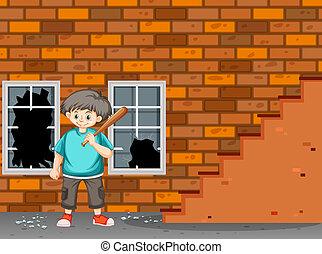 rottura, ragazzo, finestra, guaio