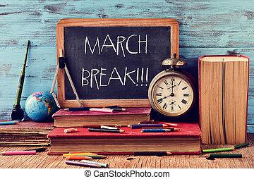 rottura, scritto, lavagna, testo, marzo