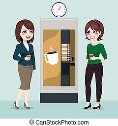 rottura, ufficio, caffè