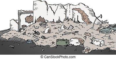 rovine, vettore, strada, illustrazione