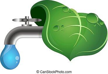 rubinetto dell'acqua, foglia, verde