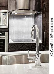 rubinetto, moderno, lavandino, cucina