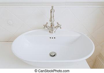 rubinetto, stile, vecchio, lavandino