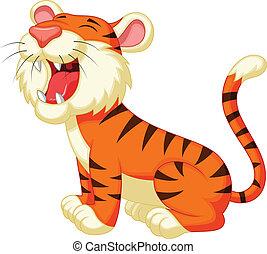 ruggire, tiger, cartone animato, carino