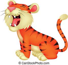 ruggire, tiger, cartone animato