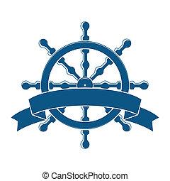 ruota, banner., emblem., vettore, nautico, nave