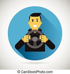 ruota, città, guida, appartamento, carattere, cavalcata, driver, illustrazione, elemento, vettore, disegno, automobile, sorridere felice, simbolo, icona