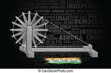 ruota, jayanti, india, filatura, gandhi, fondo