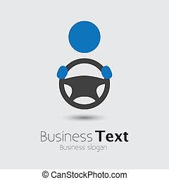 ruota, o, suo, cabbie, automobile, affari, spazio, testo, graphic., veicolo, driver, symbol-, mano, vettore, illustrazione, presa a terra, automobile, slogan, icona, direzione, mostra
