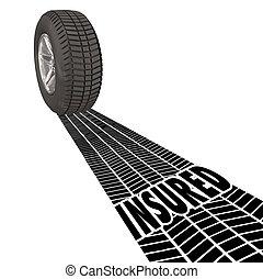 ruota, pneumatico, assicurato, piste, protezione, copertura