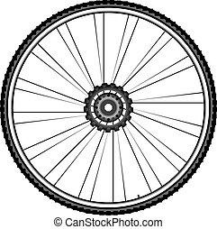 ruota, vettore, -, isolato, illustrazione, bicicletta, fondo, bianco
