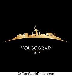 russia, città, silhouette, fondo, nero, volgograd