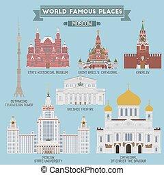 russia, famoso, locali, mosca
