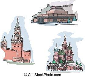 russia, quadrato, viste, rosso, mosca