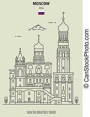 russia., torre, punto di riferimento, campana, icona, mosca, grande, ivan