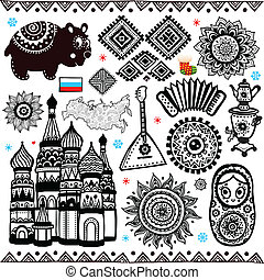 russo, simboli, set, folcloric