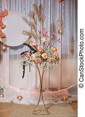 rustico, dentro, style.two, verde, vendemmia, fiori, standing, decorazione, erba, matrimonio bianco, lampada