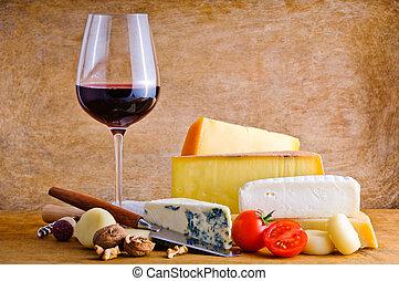 rustico, formaggio, spuntino, vino