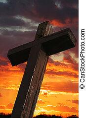 rustico, legno, tramonto, croce, contro