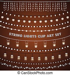 rustico, luci stringa, set