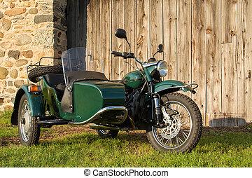 rustico, -, motocicletta, fondo, sidecar