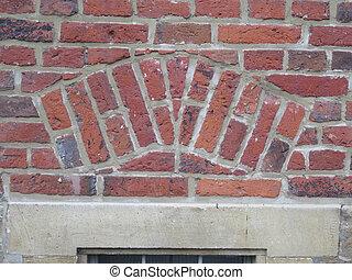 rustico, parete, mattone, closeup