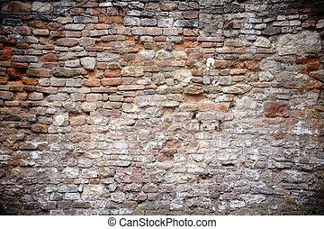 rustico, parete, mattone, pietra