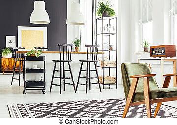 rustico, sedia, cucina verde