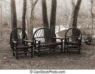 rustico, sedie, prato