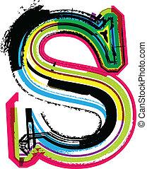 s, grunge, colorito, lettera