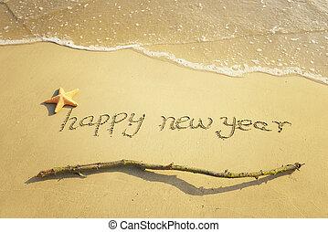 sabbia, anno, nuovo, messaggio, spiaggia, felice