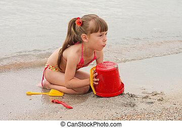 sabbia, ragazza, gioco