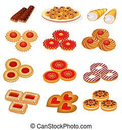 sabbia, torta, biscotti, set, saporito