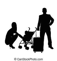 sacchetto bambino, coppia, viaggiare, illustrazione