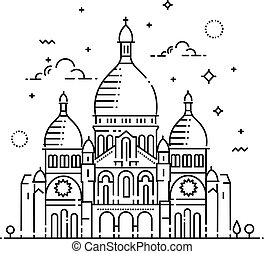 sacre-coeur, line-art, parigi, francia, minimalistic, punto di riferimento, icona